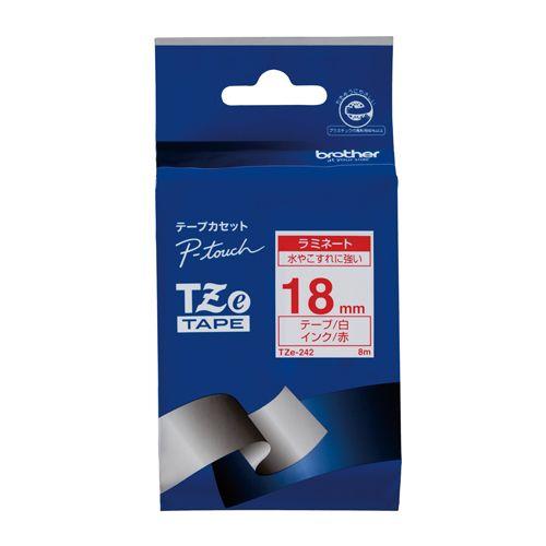 ブラザー ピータッチテープ18mm 白 赤文字  TZE-242