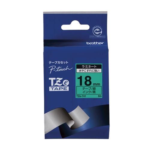 ブラザー ピータッチテープ18mm 緑 黒文字  TZE-741