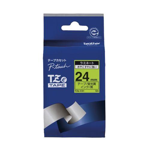 ブラザー ピータッチテープ24mm 蛍光黄 黒文字  TZE-C51