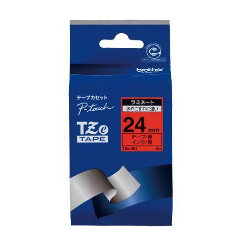 ブラザー ピータッチテープ24mm 赤 黒文字  TZE-451