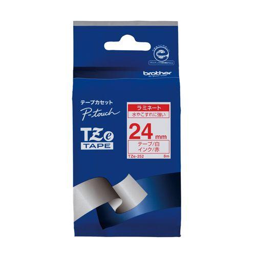 ブラザー ピータッチテープ24mm 白 赤文字  TZE-252