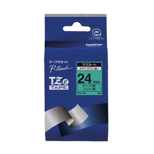 ブラザー ピータッチテープ24mm 緑 黒文字  TZE-751
