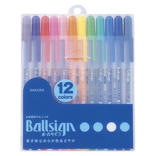ボールサイン80 12色セット 黒,赤,青,緑,橙,ローズ,黄緑,黄,桃,茶,紫,ロイヤルブルー (PGB12)