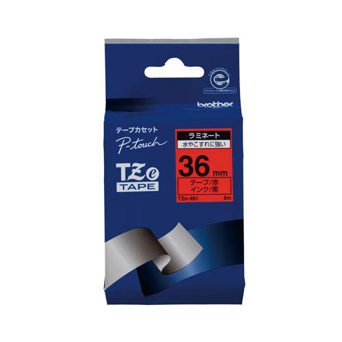 ブラザー ピータッチテープ36mm 赤 黒文字  TZE-461