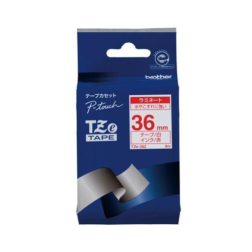 ブラザー ピータッチテープ36mm 白 赤文字  TZE-262