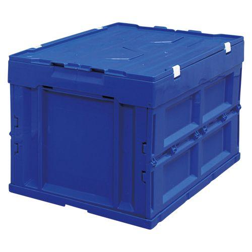 アイリスオーヤマ ハード折りたたみコンテナフタ一体型50L ブルー  HDOH-50L