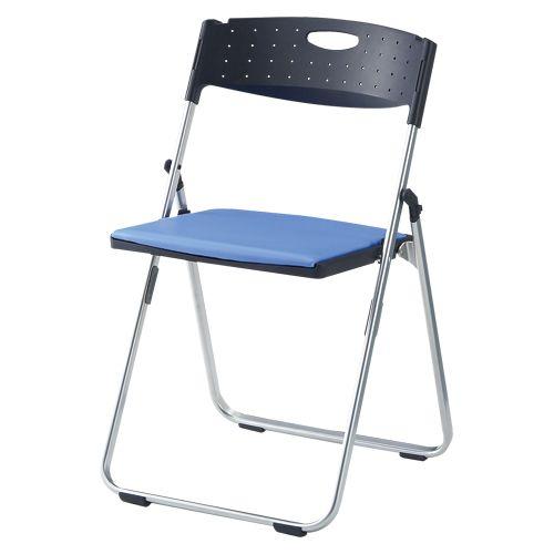 スチール折畳み椅子 パット付タイプ ブルー (CAL-XS02M-V-BL)
