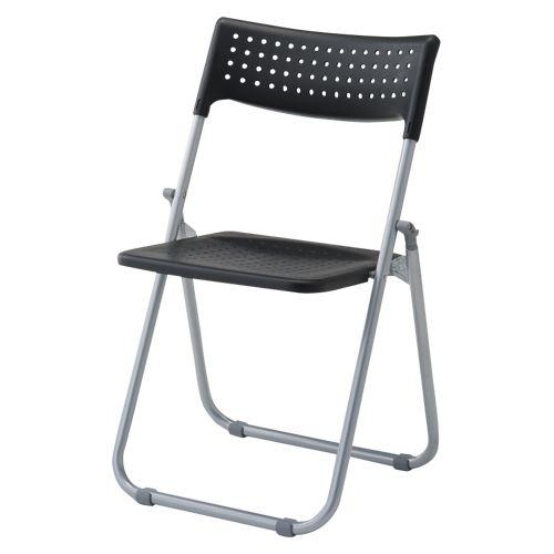 アイリスチトセ スチール折畳み椅子 背・座樹脂タイプ ブラック  SS-S039N