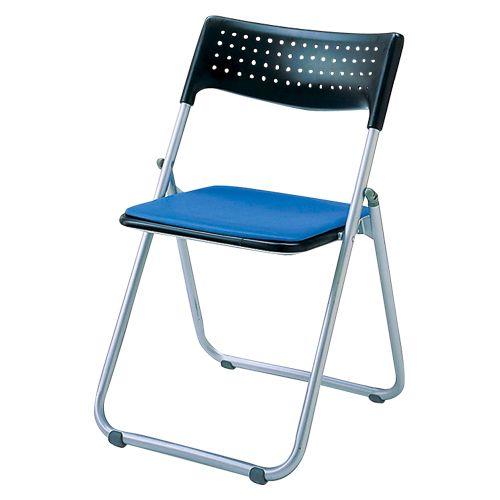 スチール折畳み椅子 パット付タイプ ブルー  SS-S139N-BL