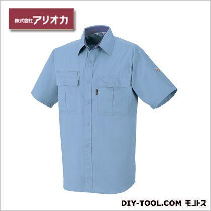 作業着(作業服) 半袖シャツ 春夏用 サックス M (881)