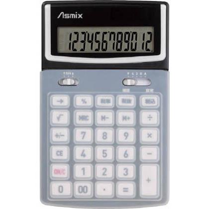 アスカ アスカ ボタンカバーつきカラー電卓 ブラック C1216BK 1台   C1216BK 1 台