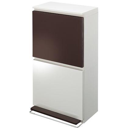 アスベル 分別ダストボックス ペダル 薄型ワイド2段 ブラウンホワイト 約幅40×奥行28×高さ76(cm) 238360