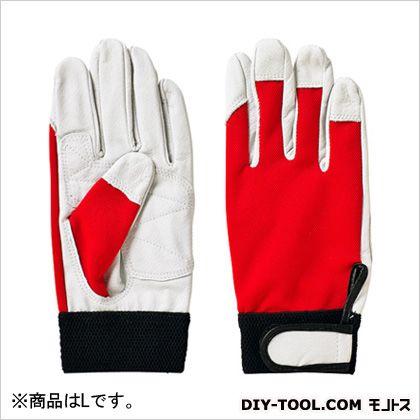 天然皮革手袋 ピッグローブ 手の平補強 レッド L (2043)