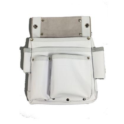 皮製仮枠釘袋サイドポケット付 白 W240×H340mm ZL-035WH