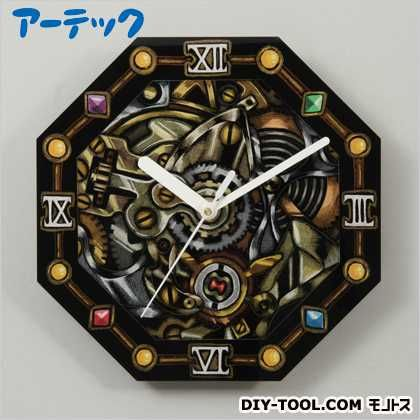 八角アートガラス時計   13239