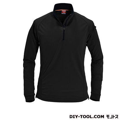 長袖ジップシャツ ブラック S 413
