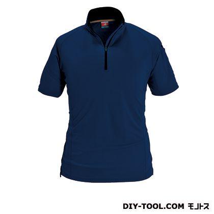 半袖ジップシャツ ネイビー M (415)