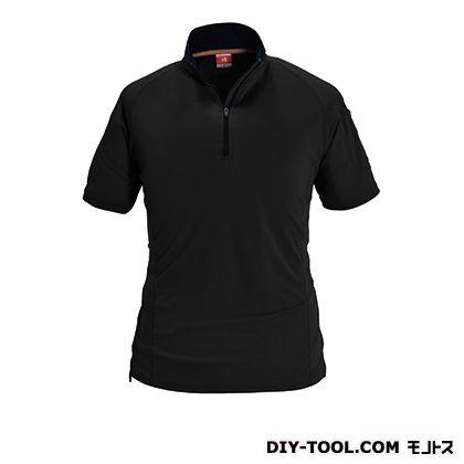 半袖ジップシャツ ブラック M 415