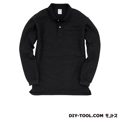 長袖ポロシャツ ブラック M (203)