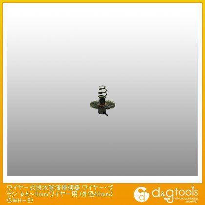ワイヤー式排水管清掃機器 ワイヤー・ブラシ φ6〜8mmワイヤー用 (外径40mm) (SWH-8)