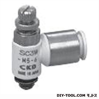 スピコン エルボタイプワンタッチ継手付 幅×奥行×高さ:26.8×8.8×27.2mm (SC3W-M5-4)