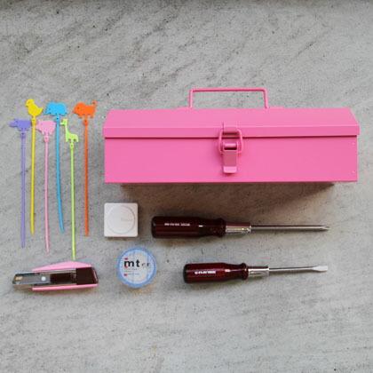 DIY FACTORYオリジナル カラフルな工具箱cotetsu (コテツ)に入れるDIY女子用基本セット ピンク