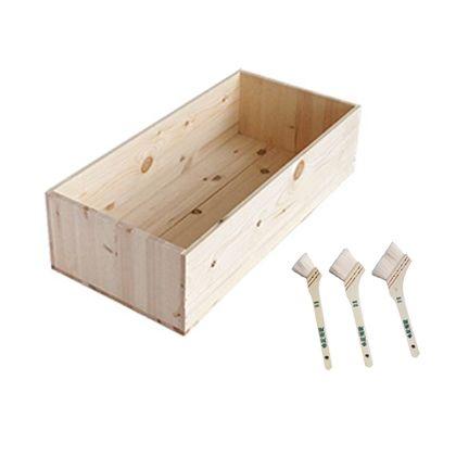DIYで人気!りんご箱と刷毛のセット  幅×奥行×高さ:300×620×155(mm)