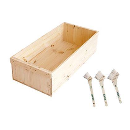 DIYで人気!りんご箱と刷毛のセット  幅×奥行×高さ:300×640×155(mm)