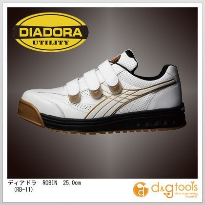 ディアドラ ROBIN マジックテープ式安全靴 ホワイト 25.0cm RB-11