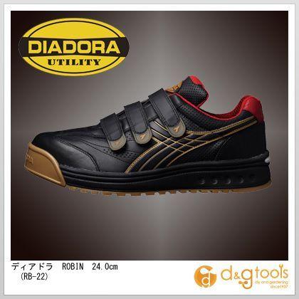 ディアドラ ROBIN マジックテープ式安全靴 ブラック&ゴールド 24.0cm RB-22