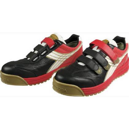 ディアドラ ROBIN マジックテープ式安全靴 ブラック&ホワイト&レッド 24.5cm RB-213