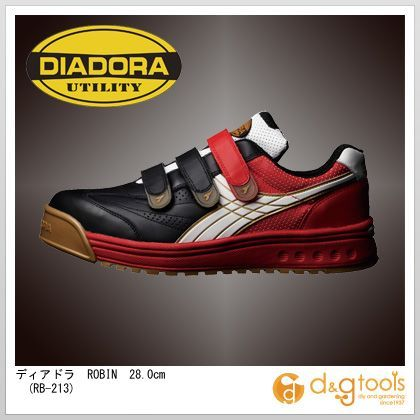 ディアドラ ROBIN マジックテープ式安全靴 ブラック&ホワイト&レッド 28.0cm RB-213