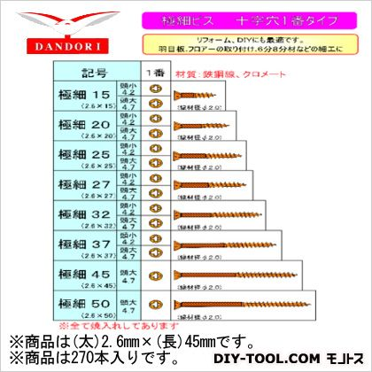 極細ビス 頭大 24号  2.6mm×45mm 448-D-93 270 本