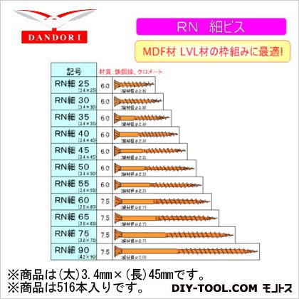 RN細ビス 12号 (太)3.4mm×(長)45mm (448-D-116) 516本