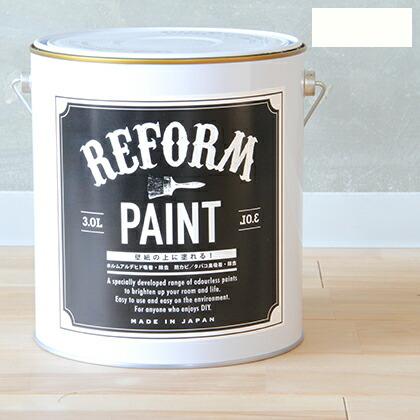 リフォームペイント壁紙の上に塗れる水性塗料 パールホワイト 3L