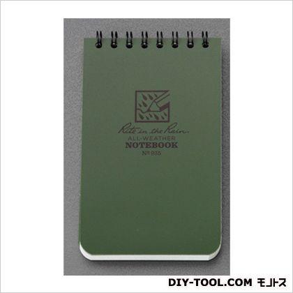 エスコ 76x127mm防水メモ帳 ODグリーン 76×127×7mm EA762GC-1