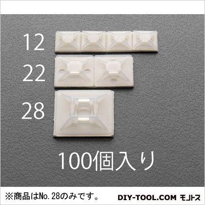 28.6X28.6mm結束バンド用ベース(粘着付/100個) 白 28.6×28.6×5.3(H)mm (EA475EZ-28) 100個
