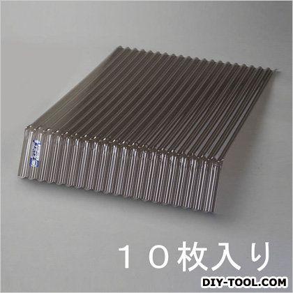 [ポリカ]先曲り波板 ブロンズ 1400x655mm EA952CC-2 10 枚