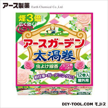 虫よけ線香 太渦巻 屋外用(12巻入) バラの香り 12巻