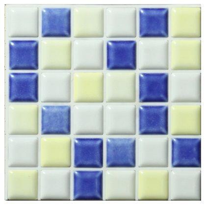 かんたんに貼れる DIYタイルシート プチコレ ホワイト×イエロー×ブルー 150×150mm PTI-01.03.09M