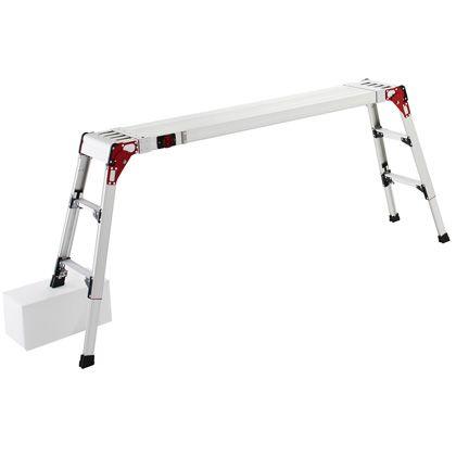 伸縮式天板・伸縮脚付足場台 シルバー (DSL1.0-2709)