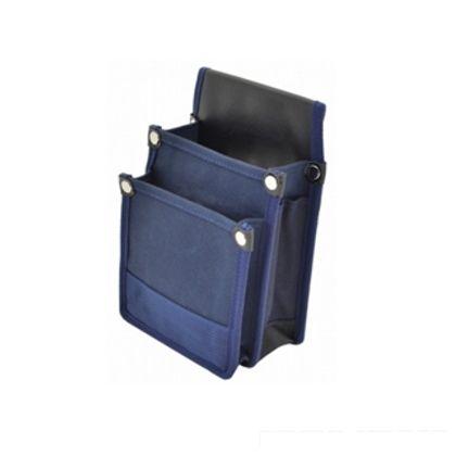マルキン印 内側ポケット 補強付帆布腰袋 YKII-02 紺 H230mm×W160mm×T100mm (MK-086)