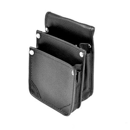 マルキン印 内側ポケット/レザー腰袋A2 黒 H270×W180×T110 (MK-135)