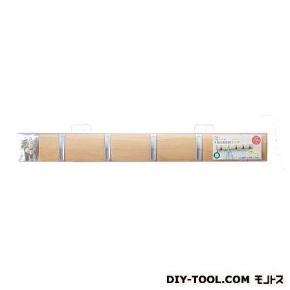 石膏ボード用木製5連収納フック ナチュラル 約523mm×523mm×44mm KSFW-50 1 個