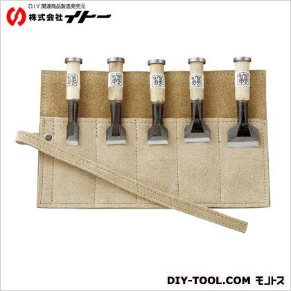 イトー 豆道楽 豆鑿 鍛造五本組 革鑿巻き  約100×160mm 013254