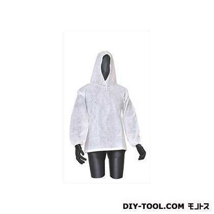 不織布作業衣ヤッケ 白 フリーサイズ BNW-C