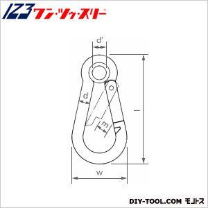 カラビナハーケン(国産)鉄6CR  d:6mmw:31mml:60mmd:9mmm:8mm KH6CR 20 個