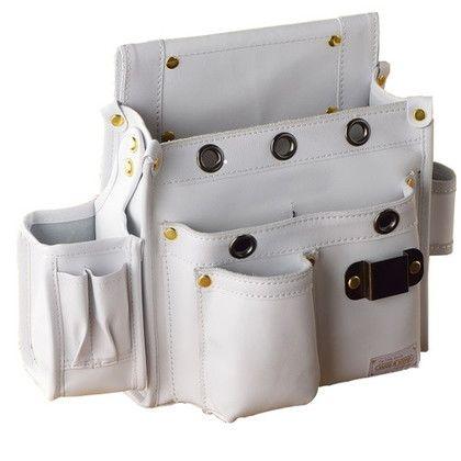WORKTIME 白本革大工道具袋 多収納仮枠袋 ホワイト 140mm×280mm×310mm SH-515