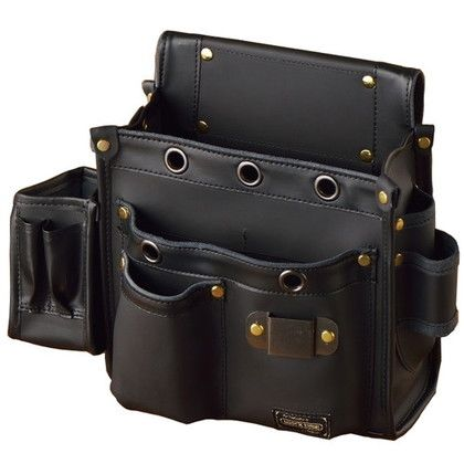 WORKTIME 白本革大工道具袋 多収納仮枠袋 ブラック 140mm×280mm×310mm SH-615