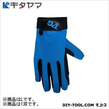 手袋 ストレッチソフトPU ブルー L #198